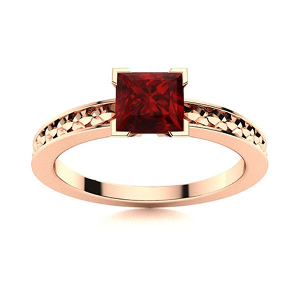 Natural 0.96 CTW Garnet Solitaire Ring 14K Rose Gold