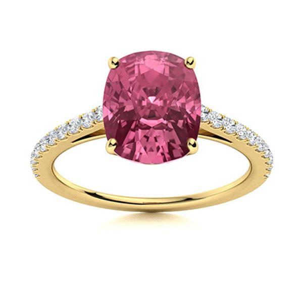 Natural 2.89 CTW Tourmaline & Diamond Engagement Ring 18K Yellow Gold
