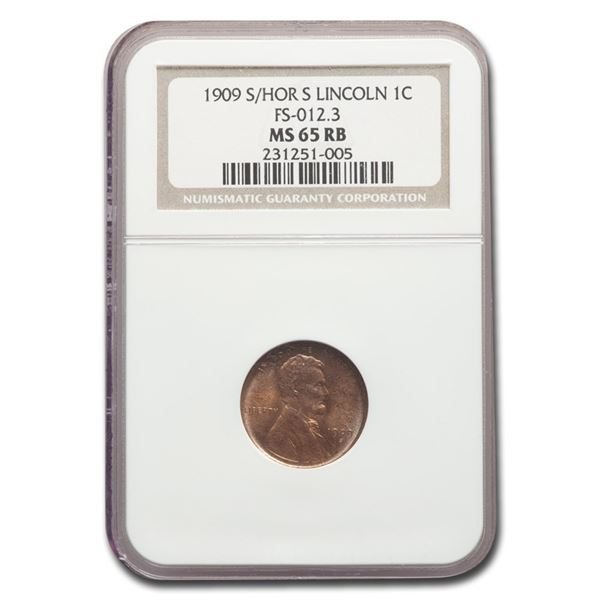 1909-S/Horizontal S Lincoln Cent MS-65 NGC (Red/Brown)