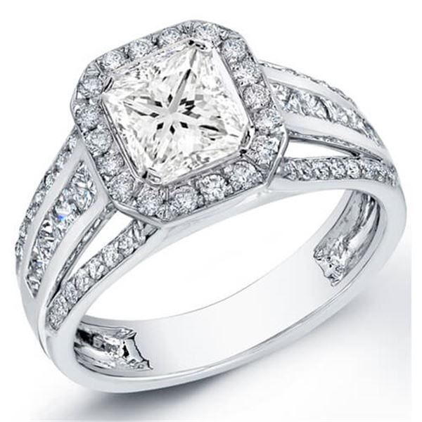 Natural 2.12 CTW Halo Princess Cut Split Shank Diamond Ring 18KT White Gold
