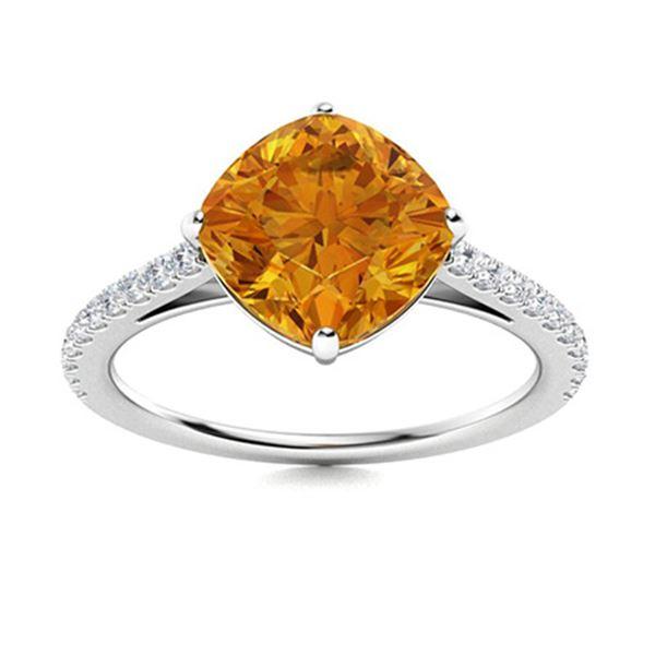 Natural 2.46 CTW Citrine & Diamond Engagement Ring 14K White Gold