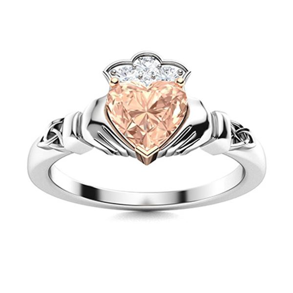 Natural 0.49 CTW Morganite & Diamond Engagement Ring 14K White Gold