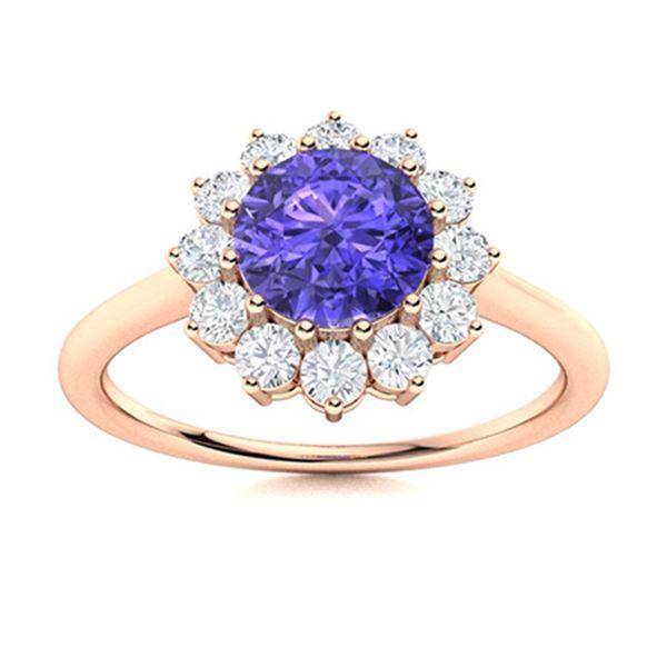 Natural 1.08 CTW Tanzanite & Diamond Engagement Ring 18K Rose Gold
