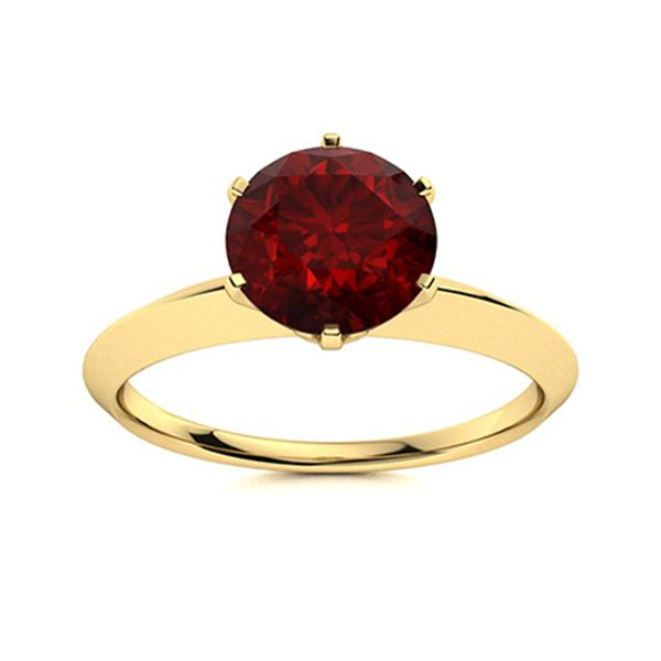 Natural 1.42 CTW Garnet Solitaire Ring 18K Yellow Gold