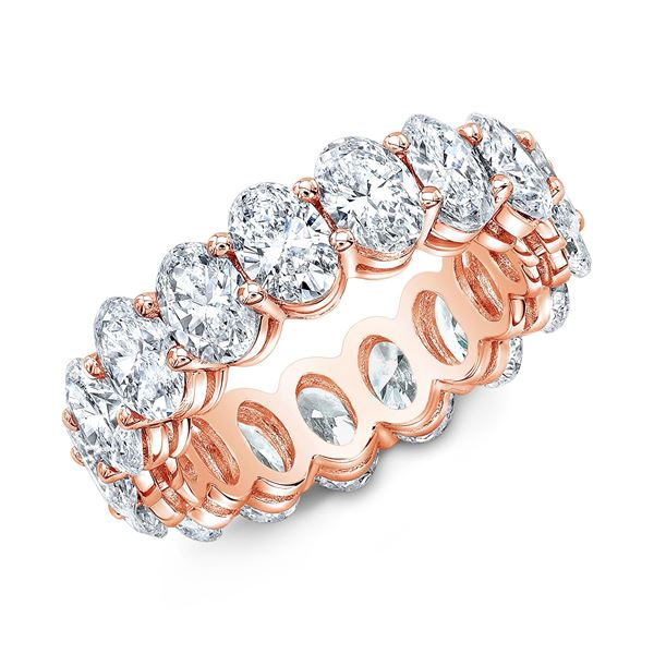 Natural 4.02 CTW Oval Cut Diamond Eternity Ring 14KT Rose Gold