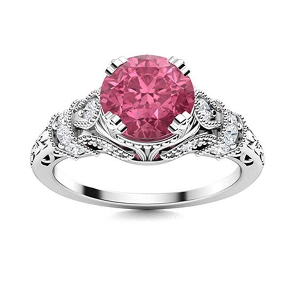 Natural 0.96 CTW Tourmaline & Diamond Engagement Ring 18K White Gold
