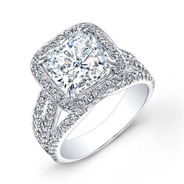 Natural 3.22 CTW Halo Cushion Cut Diamond Engagement Ring 14KT White Gold