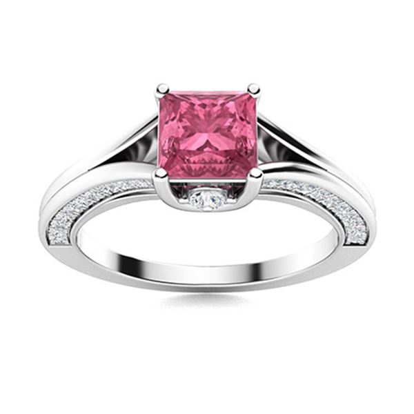 Natural 0.95 CTW Pink Sapphire & Diamond Engagement Ring 18K White Gold
