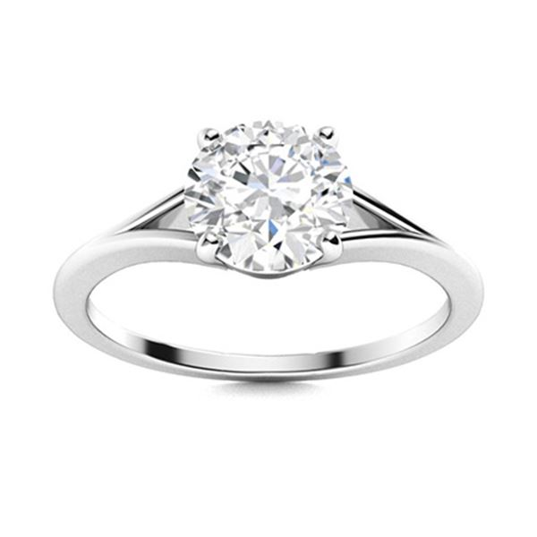 Natural 1.87 CTW Diamond Solitaire Ring 18K White Gold