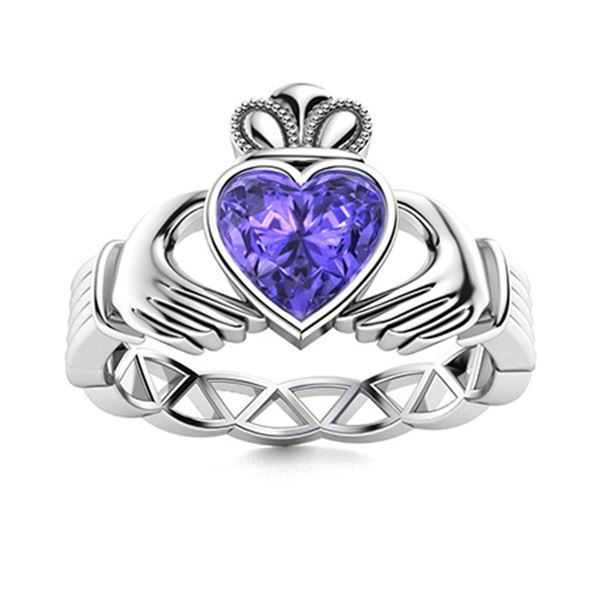 Natural 1.56 CTW Tanzanite Solitaire Ring 18K White Gold
