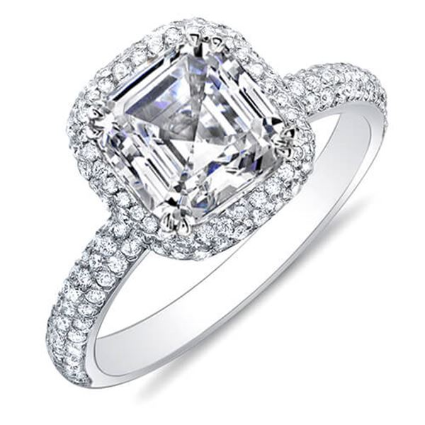 Natural 2.02 CTW Halo Asscher Cut Micro Pave Diamond Engagement Ring 18KT White Gold