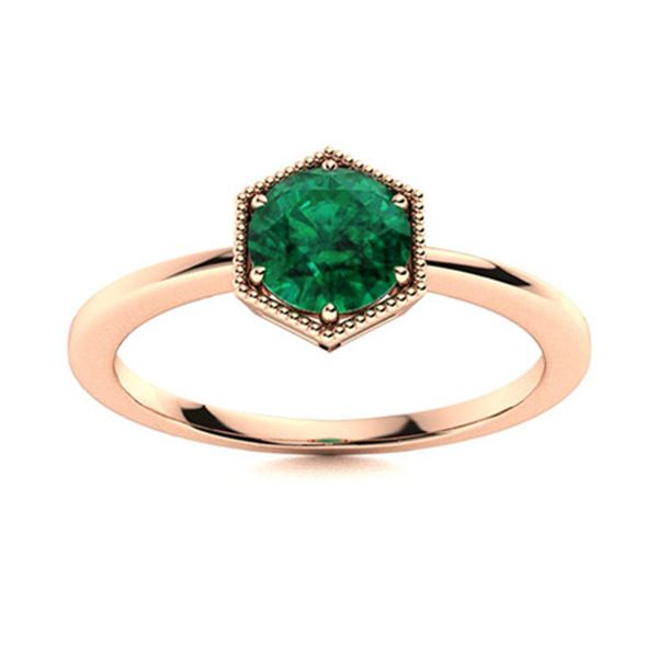 Natural 0.61 CTW Emerald Solitaire Ring 14K Rose Gold