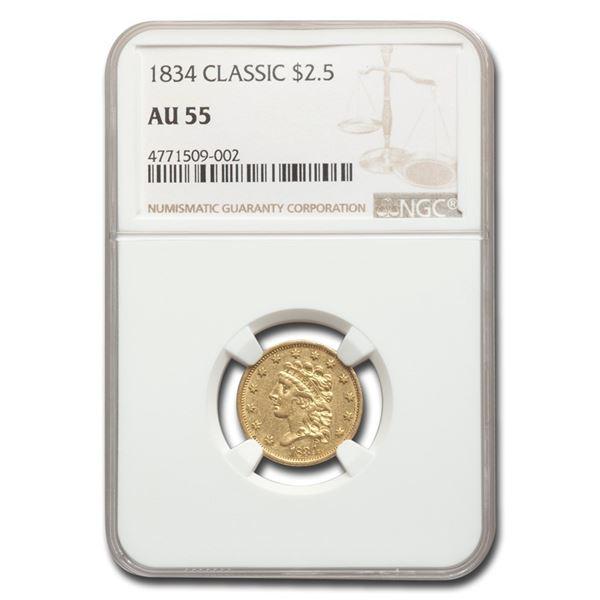 1834 $2.50 Classic Head Gold Quarter Eagle AU-55 NGC