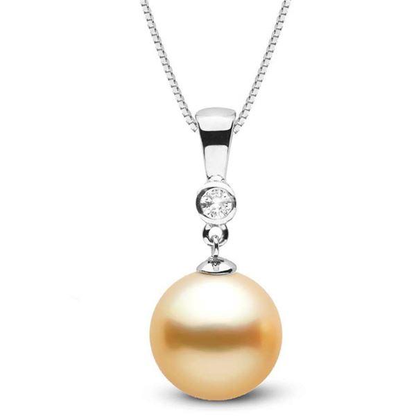 Golden South Sea Pearl and Diamond Bezel Pendant