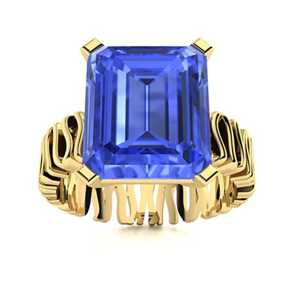 Natural 2.21 CTW Ceylon Sapphire Solitaire Ring 14K Yellow Gold