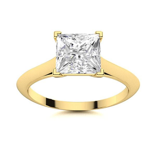 Natural 1.25 CTW Diamond Solitaire Ring 14K Yellow Gold