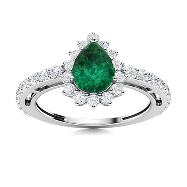 Natural 1.36 CTW Emerald & Diamond Engagement Ring 14K White Gold