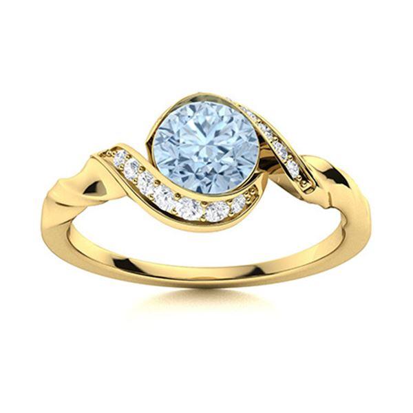 Natural 0.75 CTW Aquamarine & Diamond  Engagement Ring 18K Yellow Gold