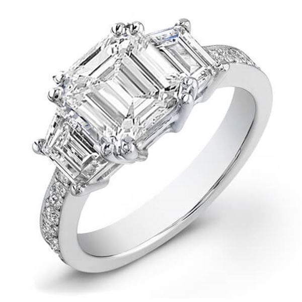 Natural 1.62 CTW Emerald Cut & Trapezoids Diamond Engagement Ring 18KT White Gold