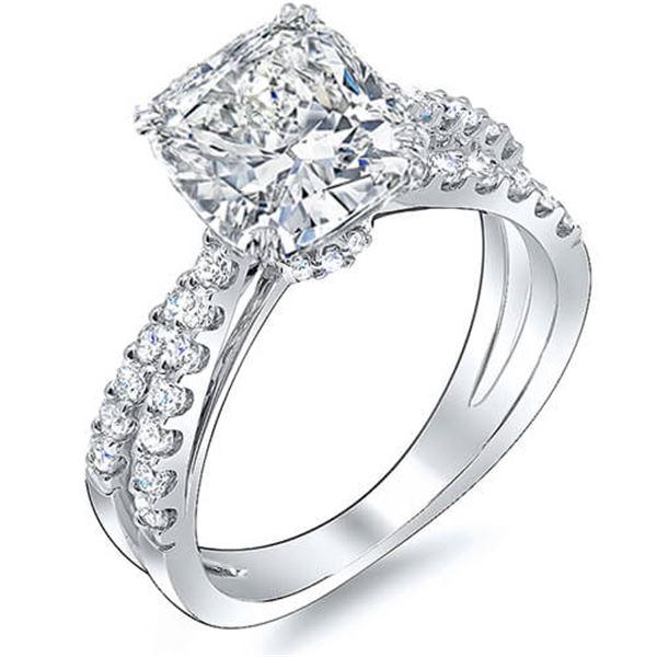 Natural 1.63 CTW Cushion Cut Cross Over Split Shank Diamond Engagement Ring 18KT White Gold
