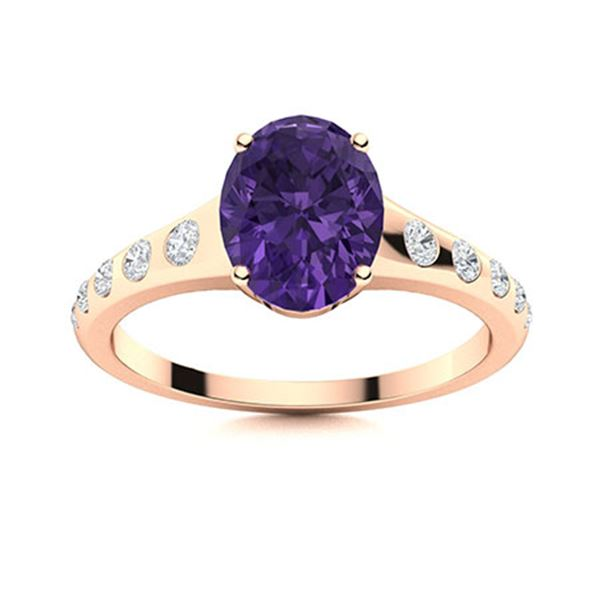 Natural 2.29 CTW Amethyst & Diamond Engagement Ring 18K Rose Gold
