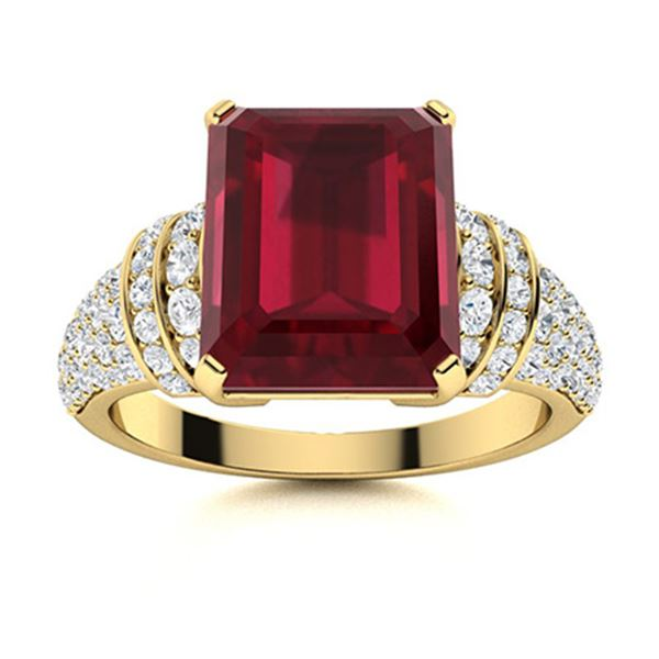 Natural 3.27 CTW Ruby & Diamond Engagement Ring 18K Yellow Gold