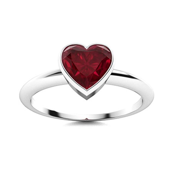 Natural 1.26 CTW Ruby Solitaire Ring 14K White Gold