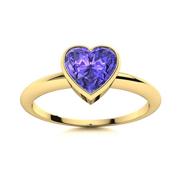 Natural 0.53 CTW Tanzanite Solitaire Ring 14K Yellow Gold