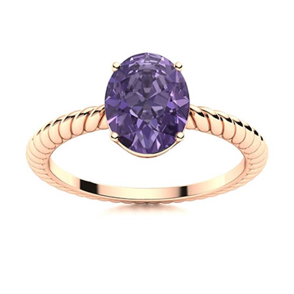 Natural 1.56 CTW Iolite Solitaire Ring 18K Rose Gold