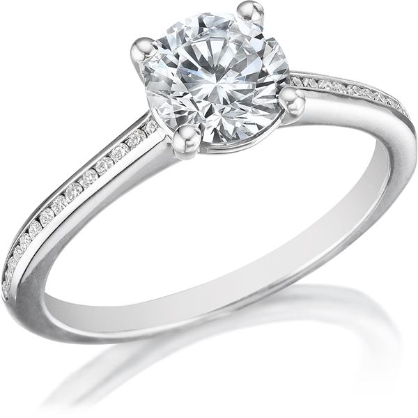 Natural 1.17 CTW Round Brilliant Cut with Accent Diamond Ring 14KT White Gold