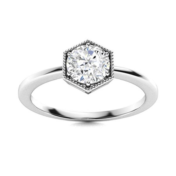 Natural 1.26 CTW Diamond Solitaire Ring 14K White Gold