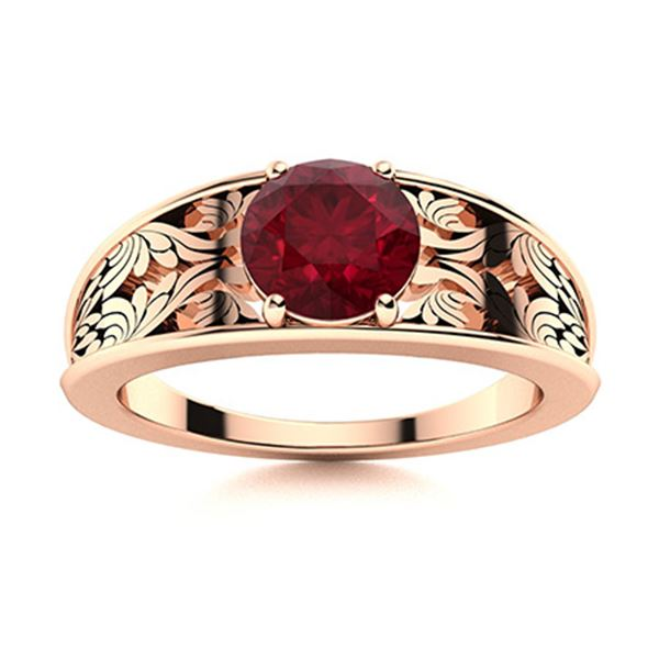 Natural 1.02 CTW Ruby Solitaire Ring 14K Rose Gold