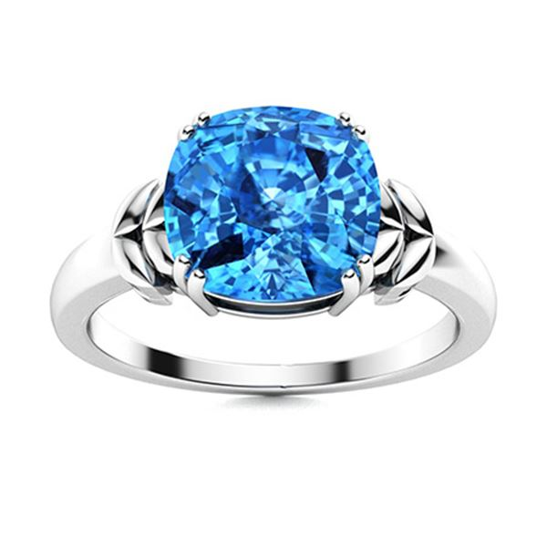 Natural 1.38 CTW Topaz Solitaire Ring 18K White Gold