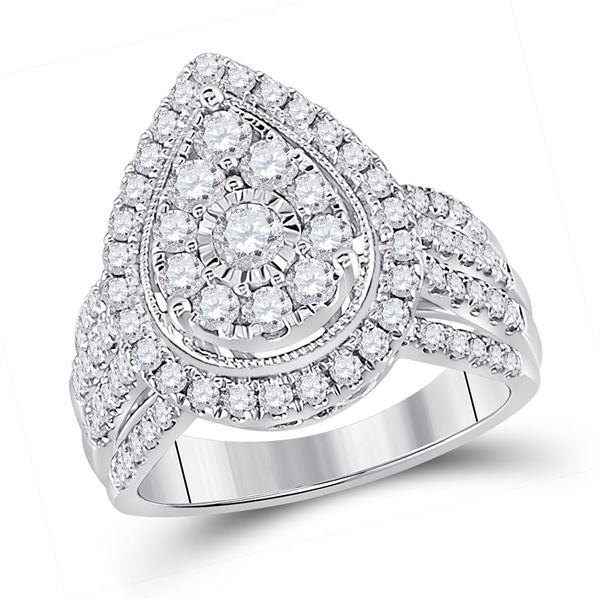 14kt White Gold Womens Round Diamond Teardrop Cluster Ring 1-1/2 Cttw