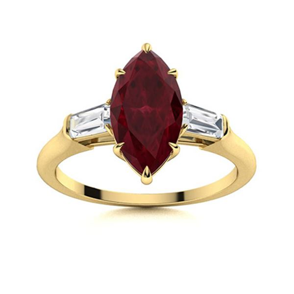 Natural 1.82 CTW Ruby & Diamond Engagement Ring 18K Yellow Gold