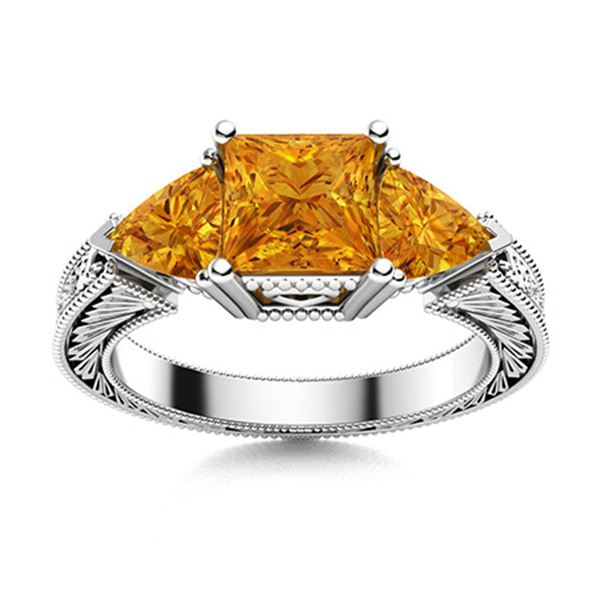 Natural 1.78 CTW Citrine Solitaire Ring 14K White Gold