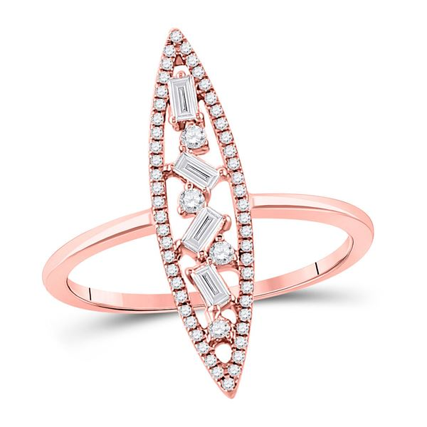 14kt Rose Gold Womens Baguette Diamond Oblong Geometric Statement Fashion Ring 1/4 Cttw