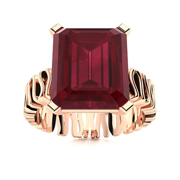 Natural 6.27 CTW Ruby Solitaire Ring 18K Rose Gold