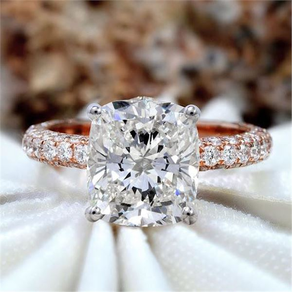 Natural 4.32 CTW Cushion Cut Micro Pave Diamond Engagement Ring 18KT Rose Gold