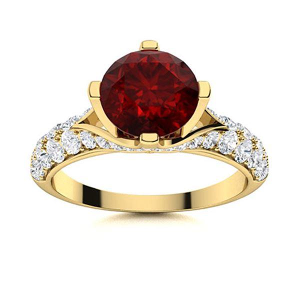 Natural 2.24 CTW Garnet & Diamond Engagement Ring 18K Yellow Gold