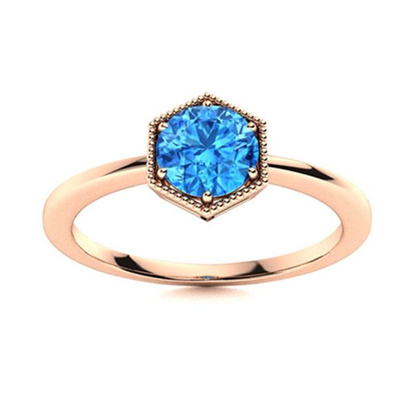 Natural 0.72 CTW Topaz Solitaire Ring 18K Rose Gold