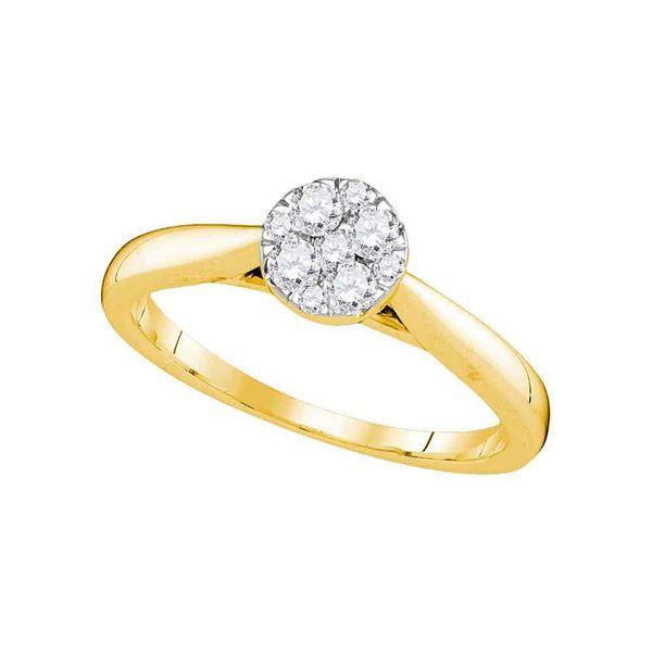 14kt Yellow Gold Round Diamond Larissa Cluster Bridal Wedding Engagement Ring 1/4 Cttw