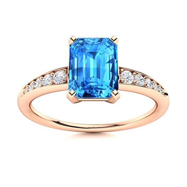 Natural 3.14 CTW Topaz & Diamond Engagement Ring 18K Rose Gold