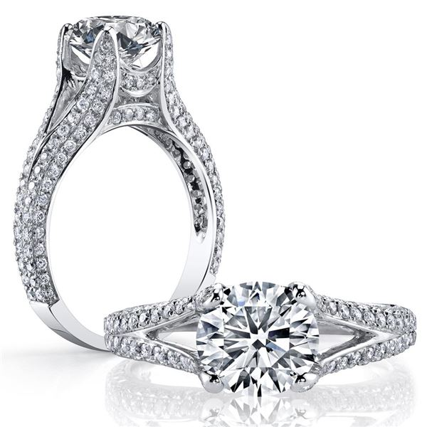 Natural 3.12 CTW Round Cut Split Shank Pave Diamond Ring 14KT White Gold