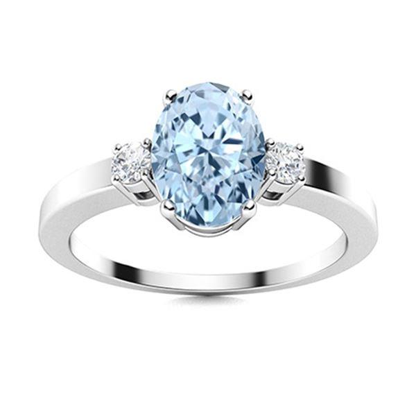 Natural 1.71 CTW Aquamarine & Diamond Engagement Ring 14K White Gold