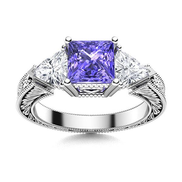 Natural 2.03 CTW Tanzanite & Diamond Engagement Ring 18K White Gold