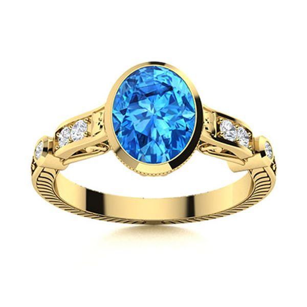 Natural 1.49 CTW Topaz & Diamond  Engagement Ring 18K Yellow Gold