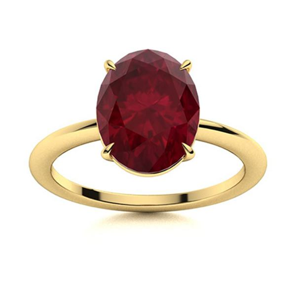 Natural 3.06 CTW Ruby Solitaire Ring 14K Yellow Gold