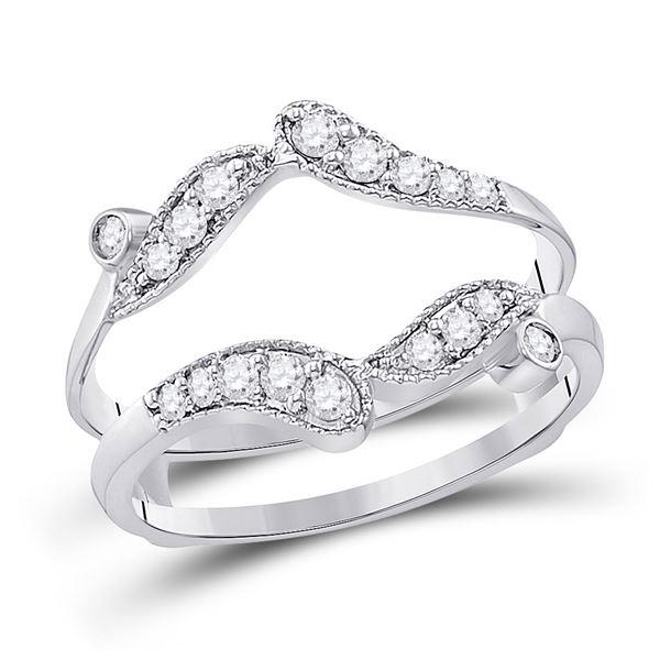 14kt White Gold Womens Round Diamond Bypass Wrap Ring Guard Enhancer 1/3 Cttw