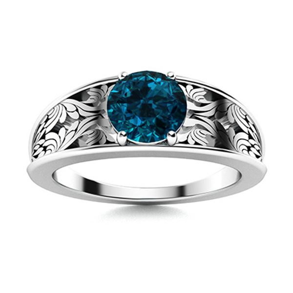 Natural 1.42 CTW Topaz Solitaire Ring 18K White Gold